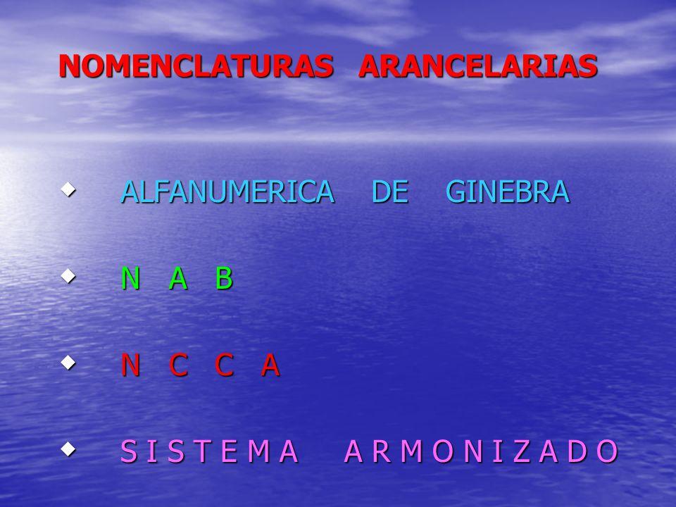 NOMENCLATURAS ARANCELARIAS