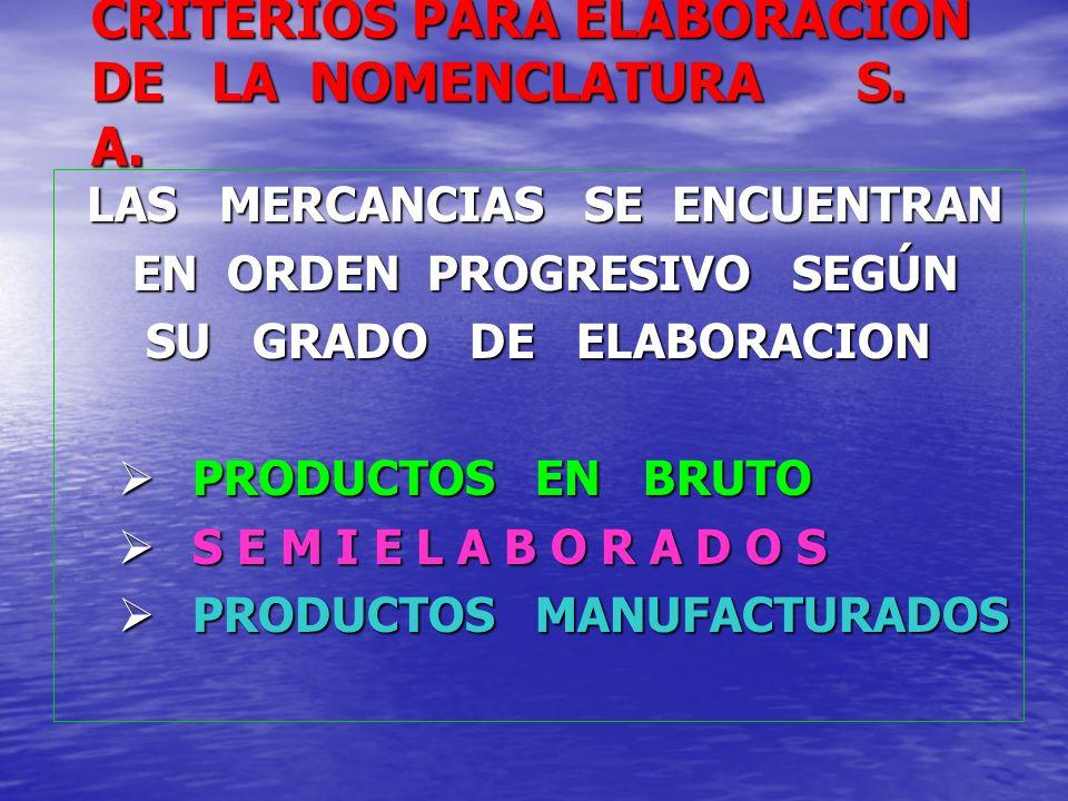 CRITERIOS PARA ELABORACION DE LA NOMENCLATURA S. A.