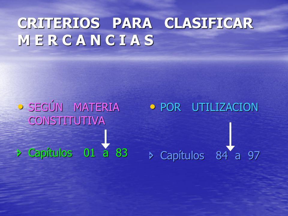 CRITERIOS PARA CLASIFICAR M E R C A N C I A S