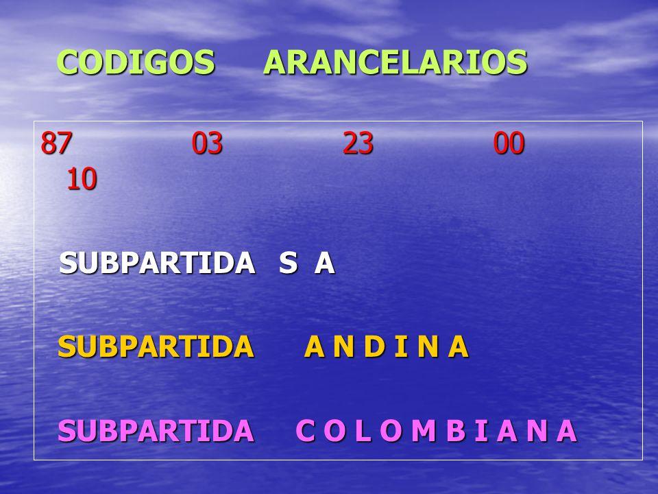 CODIGOS ARANCELARIOS 87 03 23 00 10 SUBPARTIDA S A