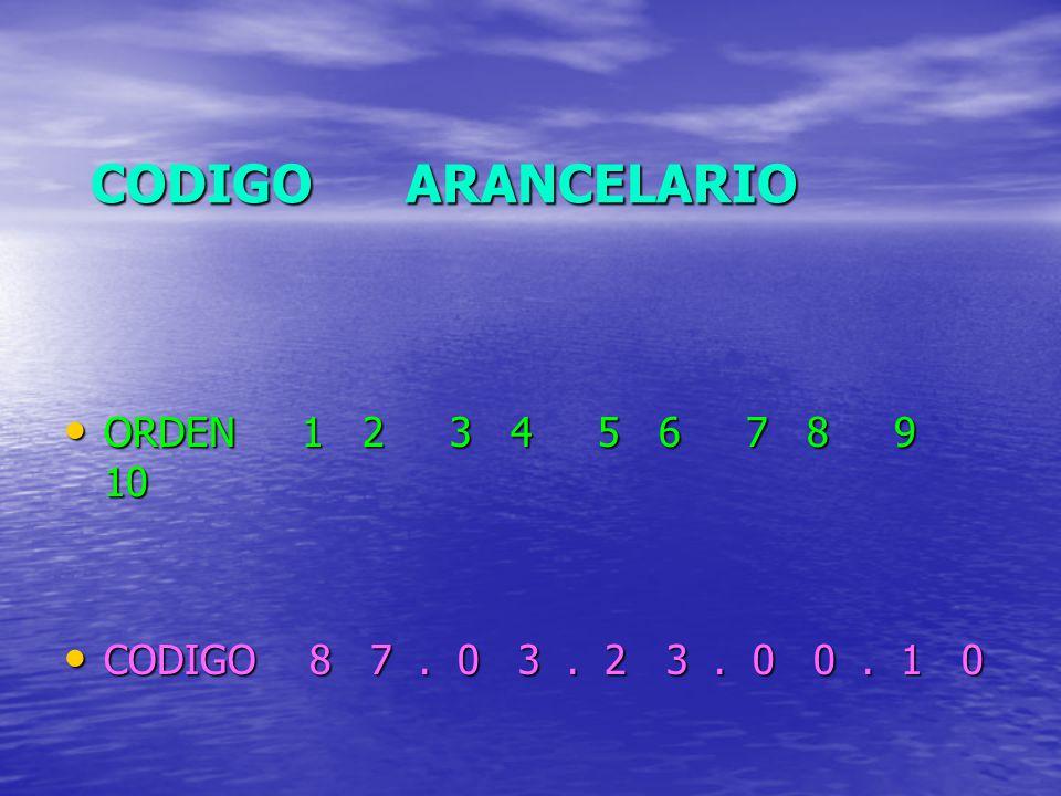 CODIGO ARANCELARIO ORDEN 1 2 3 4 5 6 7 8 9 10