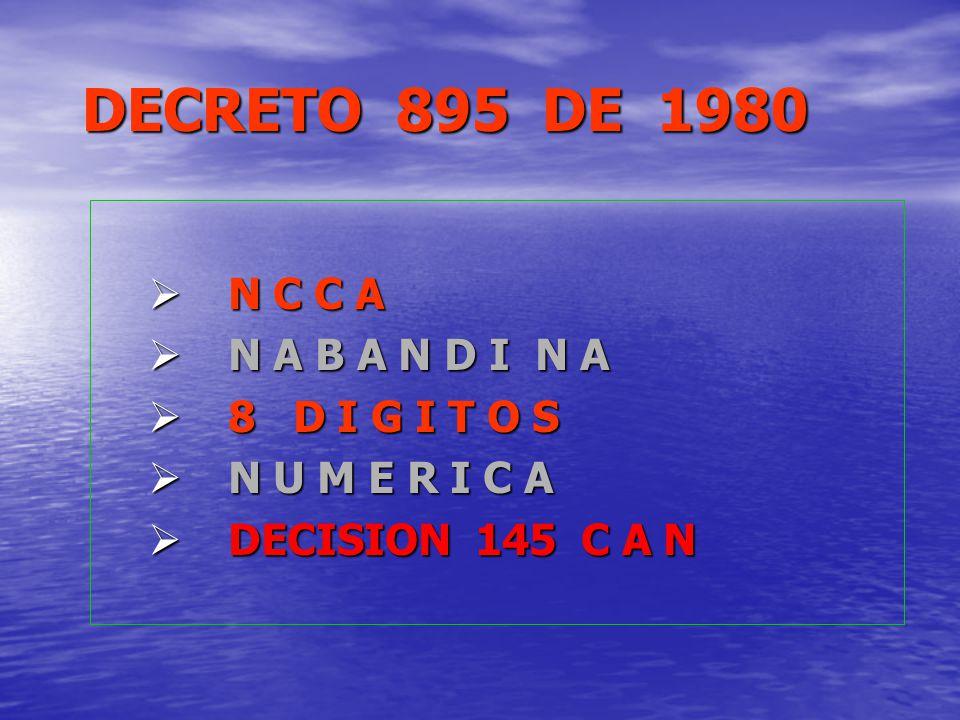 DECRETO 895 DE 1980 N C C A N A B A N D I N A 8 D I G I T O S