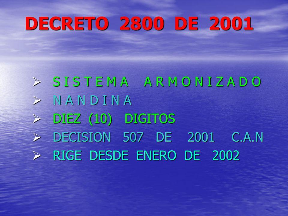 DECRETO 2800 DE 2001 S I S T E M A A R M O N I Z A D O N A N D I N A