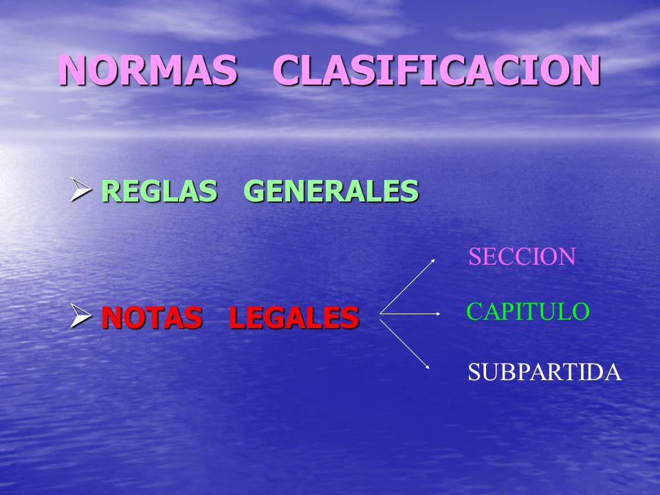 NORMAS CLASIFICACION REGLAS GENERALES NOTAS LEGALES SECCION CAPITULO