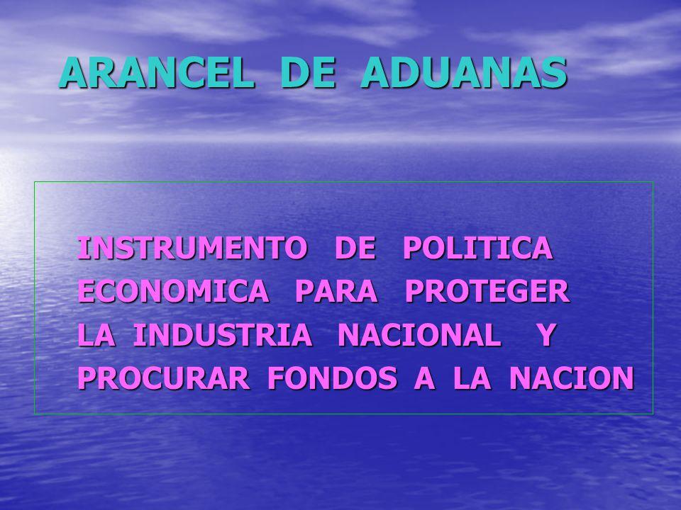 ARANCEL DE ADUANAS INSTRUMENTO DE POLITICA ECONOMICA PARA PROTEGER
