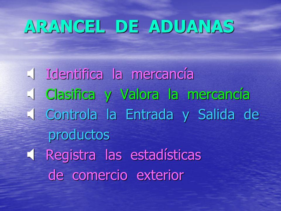ARANCEL DE ADUANAS Identifica la mercancía