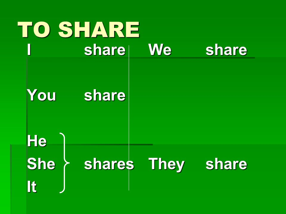 TO SHARE I share You share He She shares It We share They share