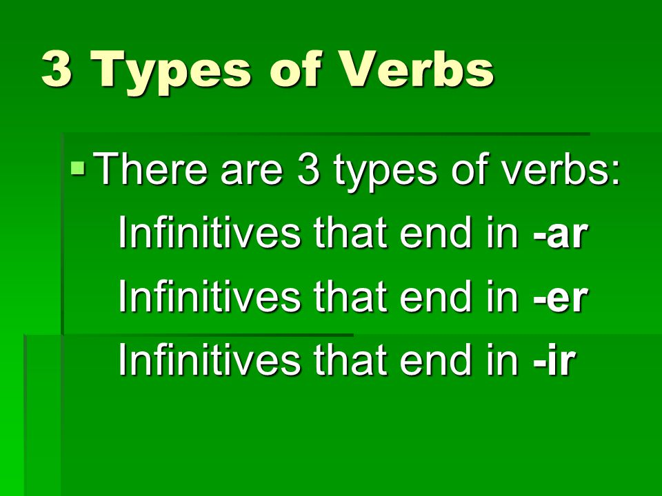 3 Types of Verbs There are 3 types of verbs: