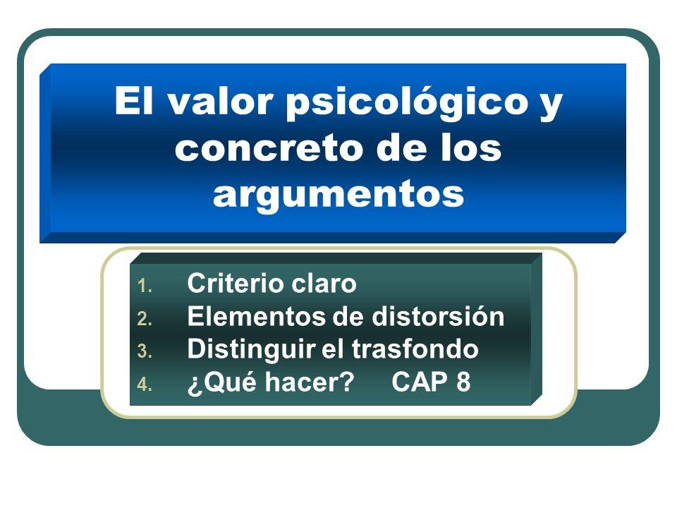 El valor psicológico y concreto de los argumentos