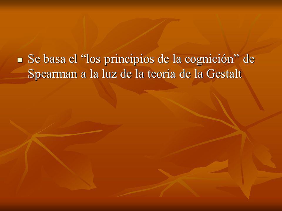 Se basa el los principios de la cognición de Spearman a la luz de la teoría de la Gestalt
