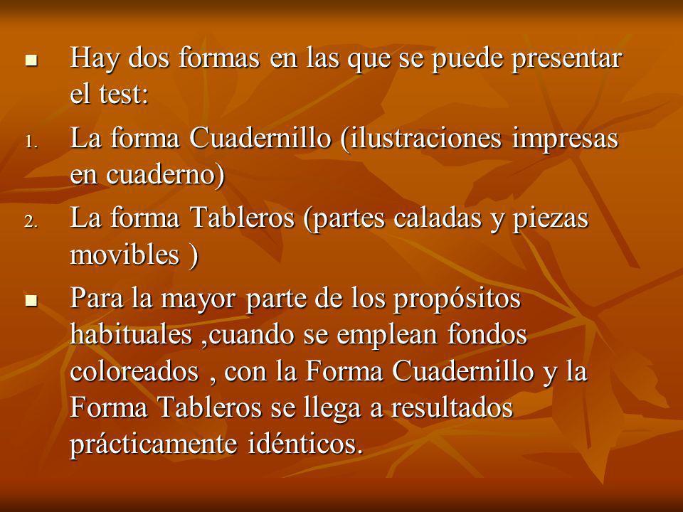 Hay dos formas en las que se puede presentar el test: