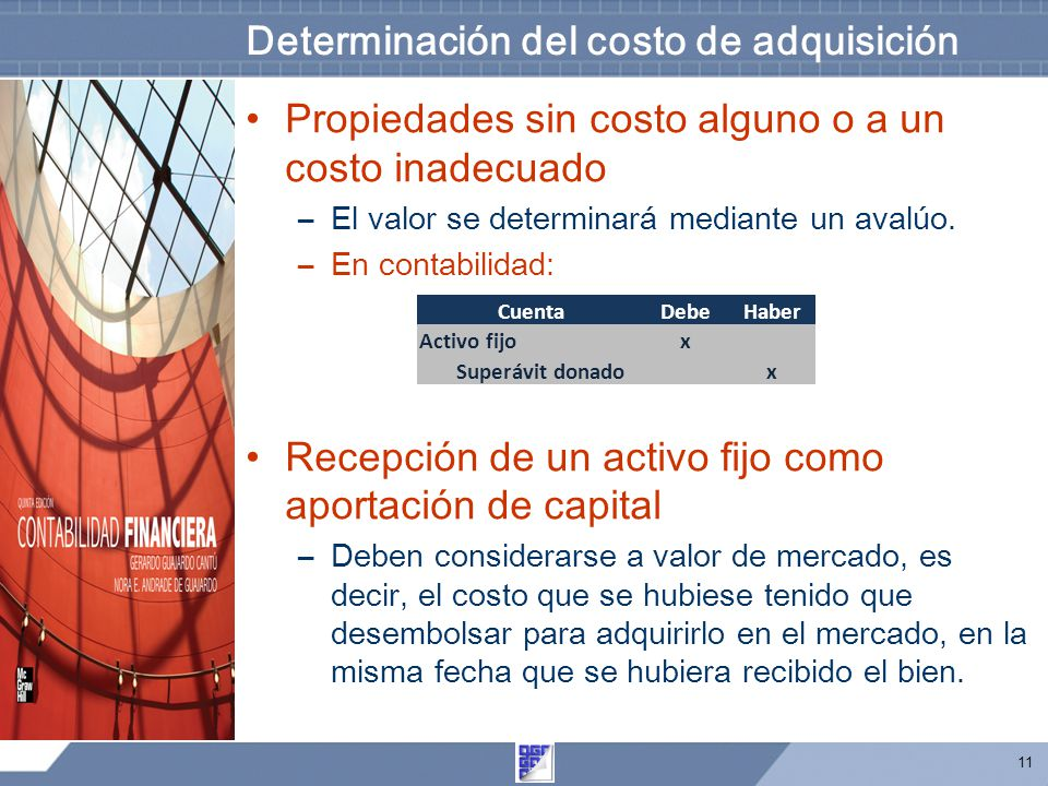 Determinación del costo de adquisición