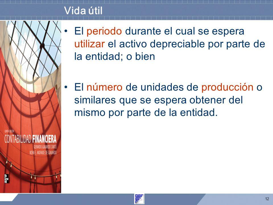 Vida útil El periodo durante el cual se espera utilizar el activo depreciable por parte de la entidad; o bien.