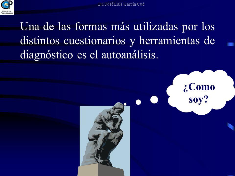 Dr. José Luis García Cué Una de las formas más utilizadas por los distintos cuestionarios y herramientas de diagnóstico es el autoanálisis.
