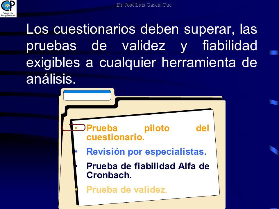 Dr. José Luis García Cué Los cuestionarios deben superar, las pruebas de validez y fiabilidad exigibles a cualquier herramienta de análisis.