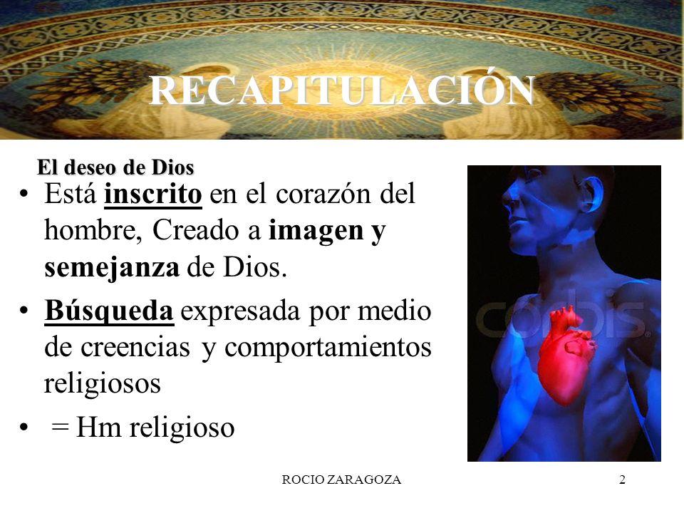 RECAPITULACIÓN El deseo de Dios. Está inscrito en el corazón del hombre, Creado a imagen y semejanza de Dios.