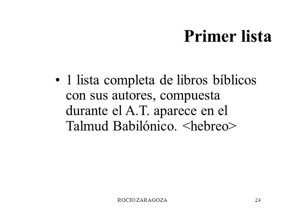 Primer lista 1 lista completa de libros bíblicos con sus autores, compuesta durante el A.T. aparece en el Talmud Babilónico. <hebreo>