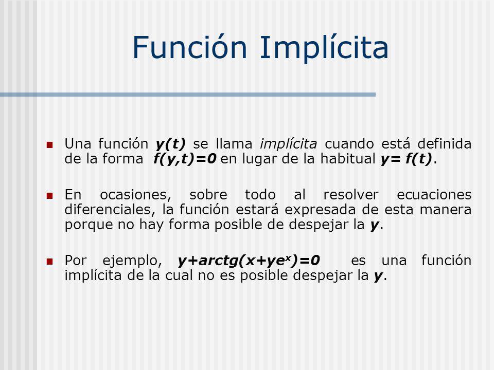 Función Implícita Una función y(t) se llama implícita cuando está definida de la forma f(y,t)=0 en lugar de la habitual y= f(t).