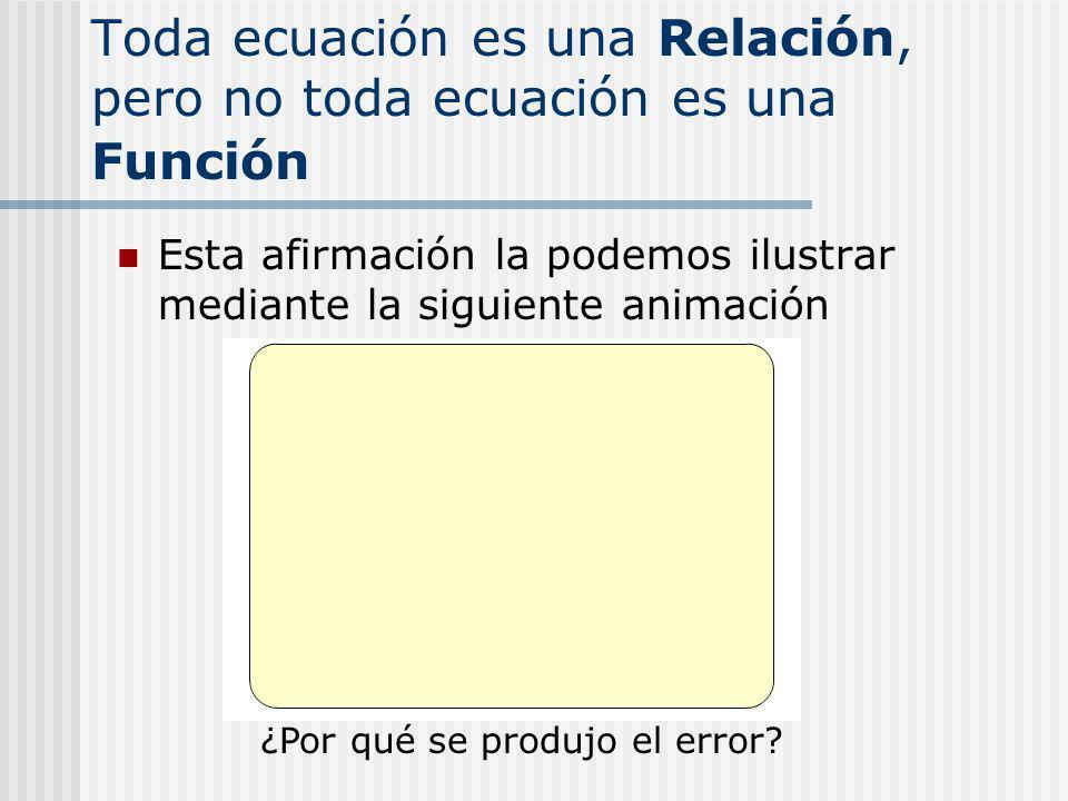 Toda ecuación es una Relación, pero no toda ecuación es una Función
