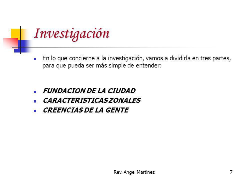 Investigación FUNDACION DE LA CIUDAD CARACTERISTICAS ZONALES