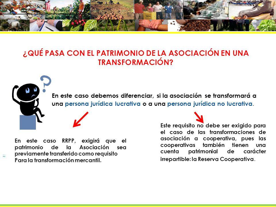 ¿QUÉ PASA CON EL PATRIMONIO DE LA ASOCIACIÓN EN UNA TRANSFORMACIÓN
