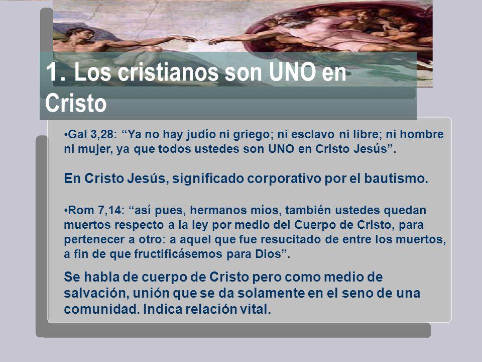 1. Los cristianos son UNO en Cristo