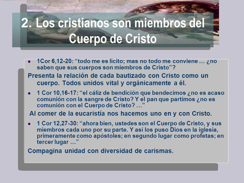 2. Los cristianos son miembros del Cuerpo de Cristo