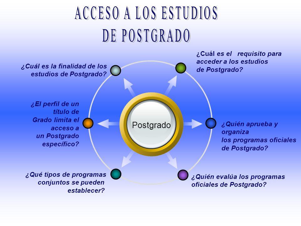 ACCESO A LOS ESTUDIOS DE POSTGRADO Postgrado
