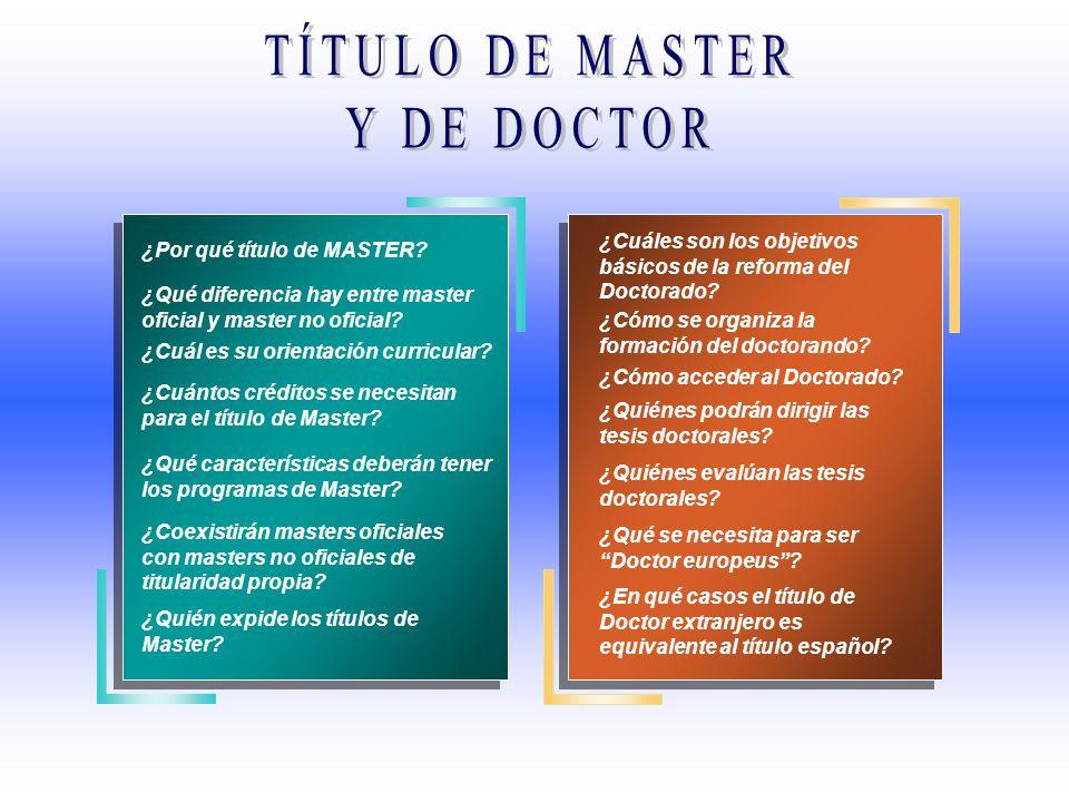TÍTULO DE MASTER Y DE DOCTOR
