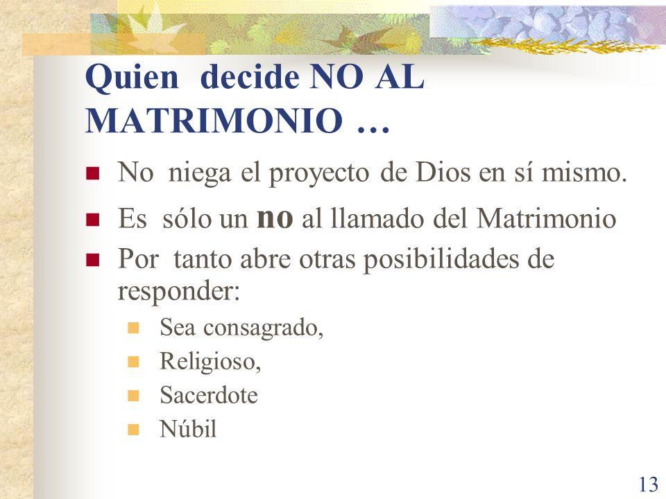 Quien decide NO AL MATRIMONIO …