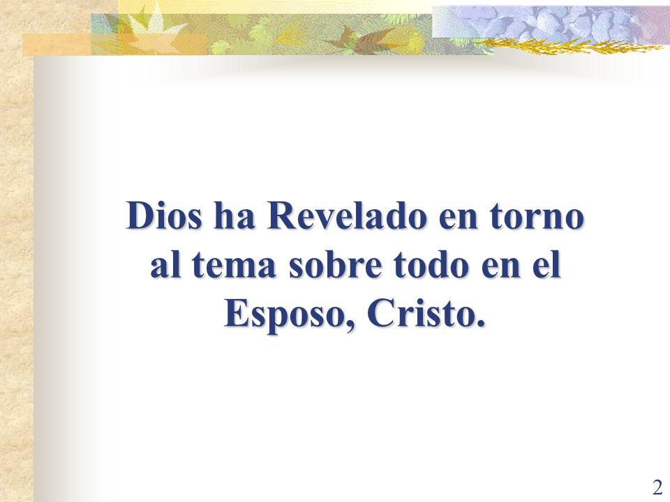 Dios ha Revelado en torno al tema sobre todo en el Esposo, Cristo.