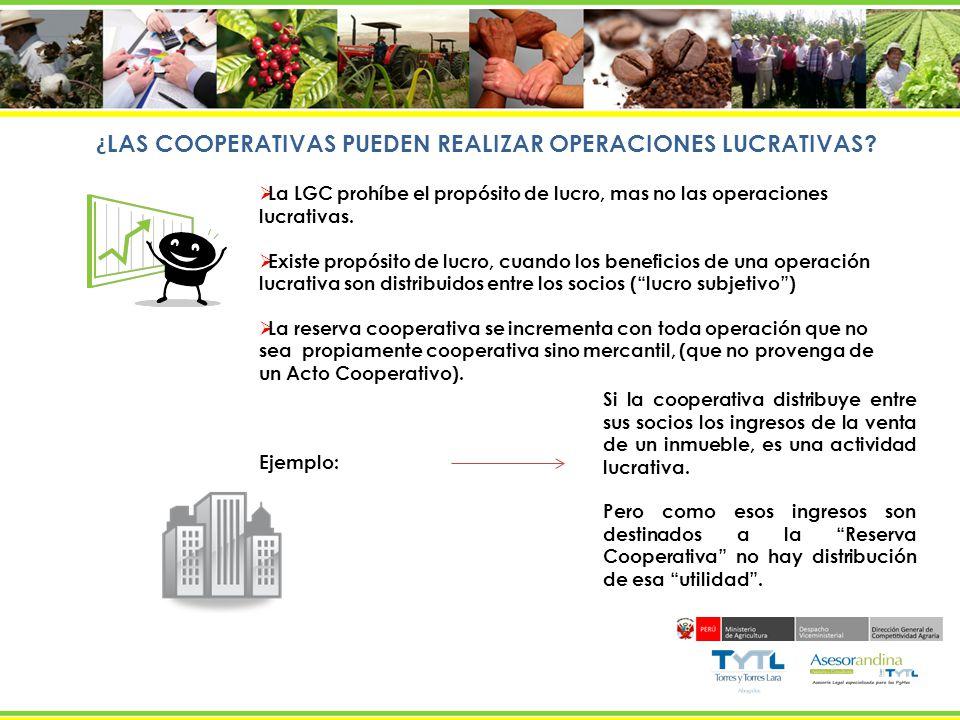 ¿LAS COOPERATIVAS PUEDEN REALIZAR OPERACIONES LUCRATIVAS