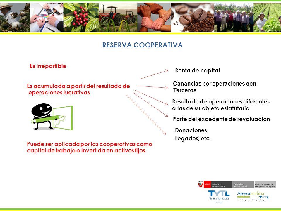 RESERVA COOPERATIVA Es irrepartible Renta de capital