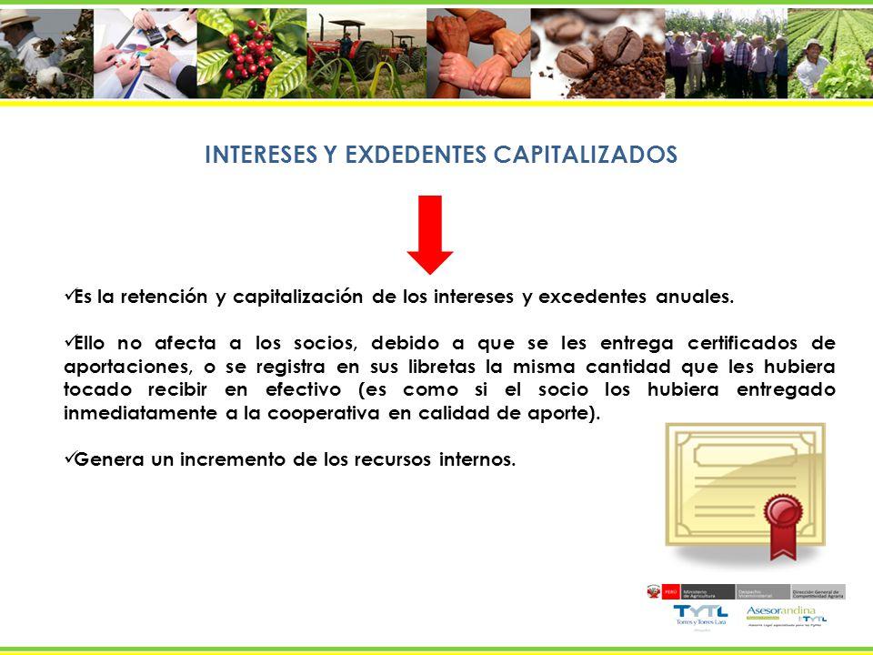 INTERESES Y EXDEDENTES CAPITALIZADOS