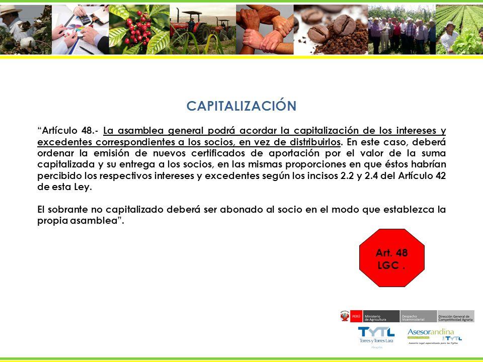 CAPITALIZACIÓN Art. 48 LGC .