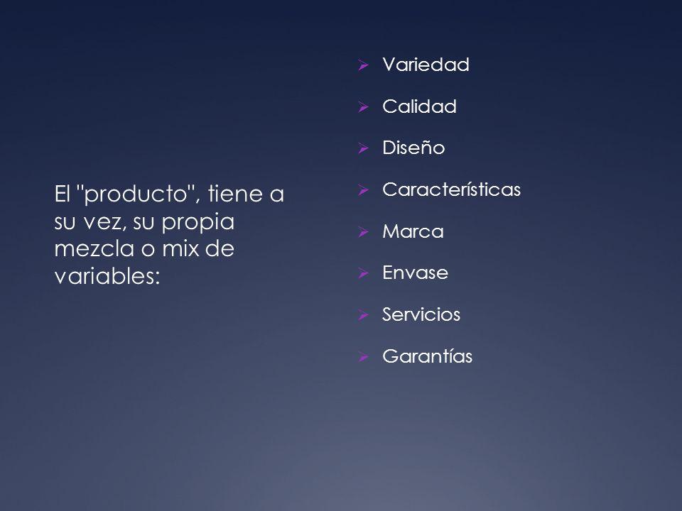 El producto , tiene a su vez, su propia mezcla o mix de variables: