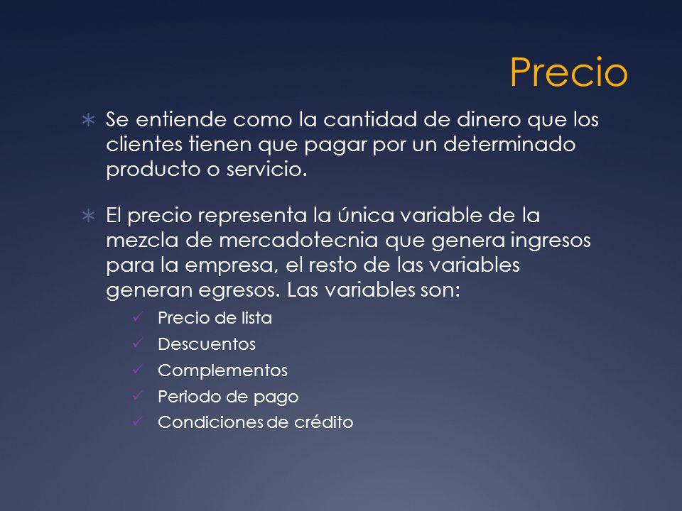 Precio Se entiende como la cantidad de dinero que los clientes tienen que pagar por un determinado producto o servicio.