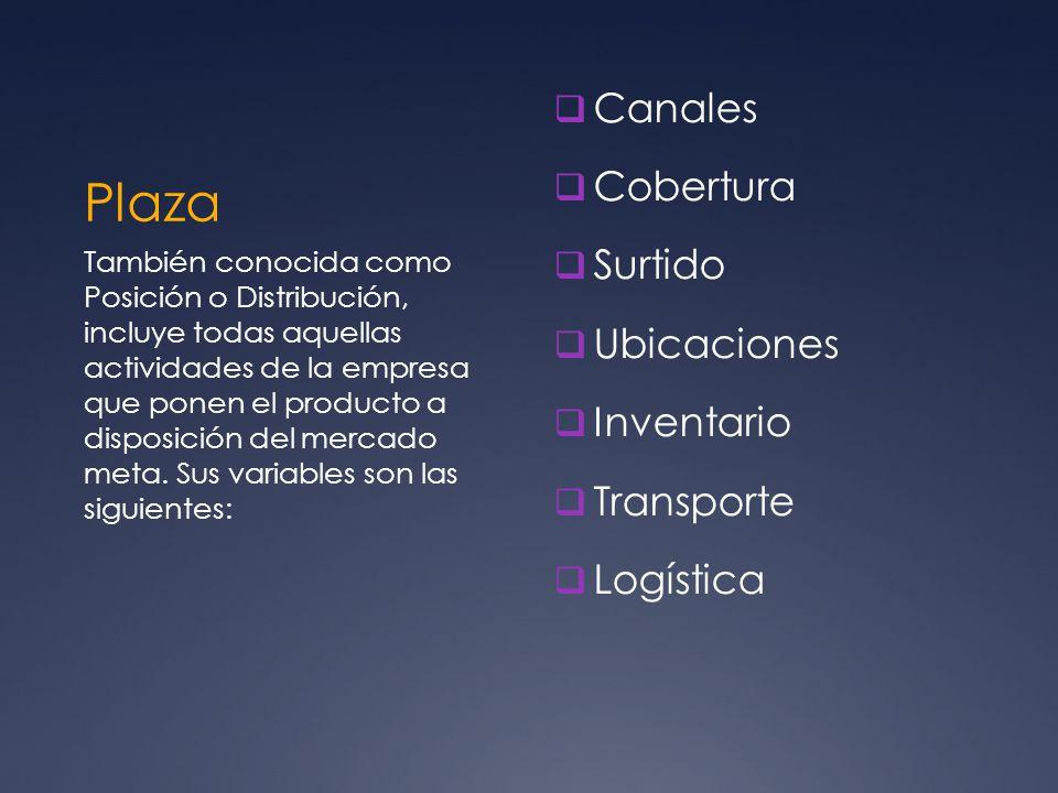 Plaza Canales Cobertura Surtido Ubicaciones Inventario Transporte