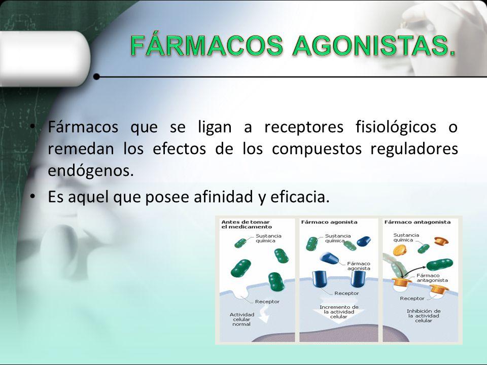 FÁRMACOS AGONISTAS. Fármacos que se ligan a receptores fisiológicos o remedan los efectos de los compuestos reguladores endógenos.