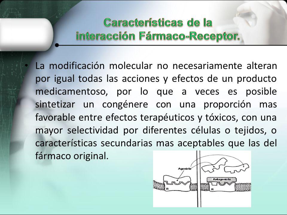 Características de la interacción Fármaco-Receptor.