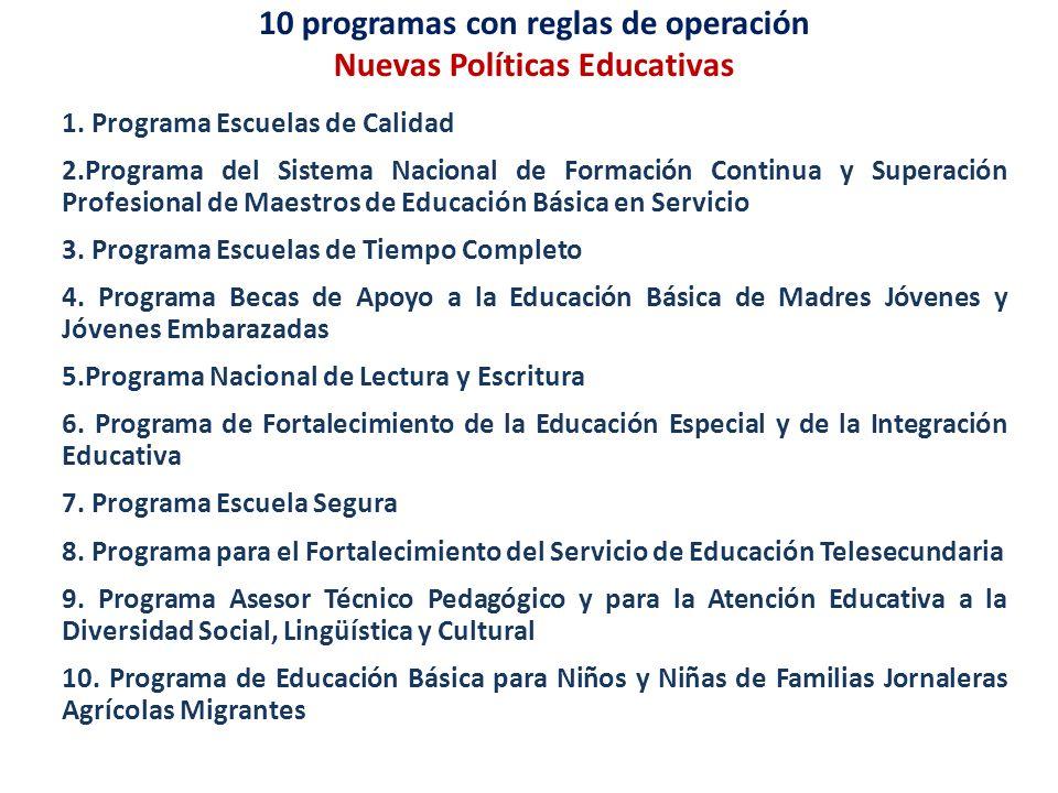10 programas con reglas de operación Nuevas Políticas Educativas