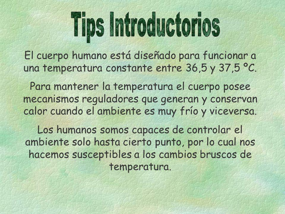 Tips Introductorios El cuerpo humano está diseñado para funcionar a una temperatura constante entre 36,5 y 37,5 ºC.