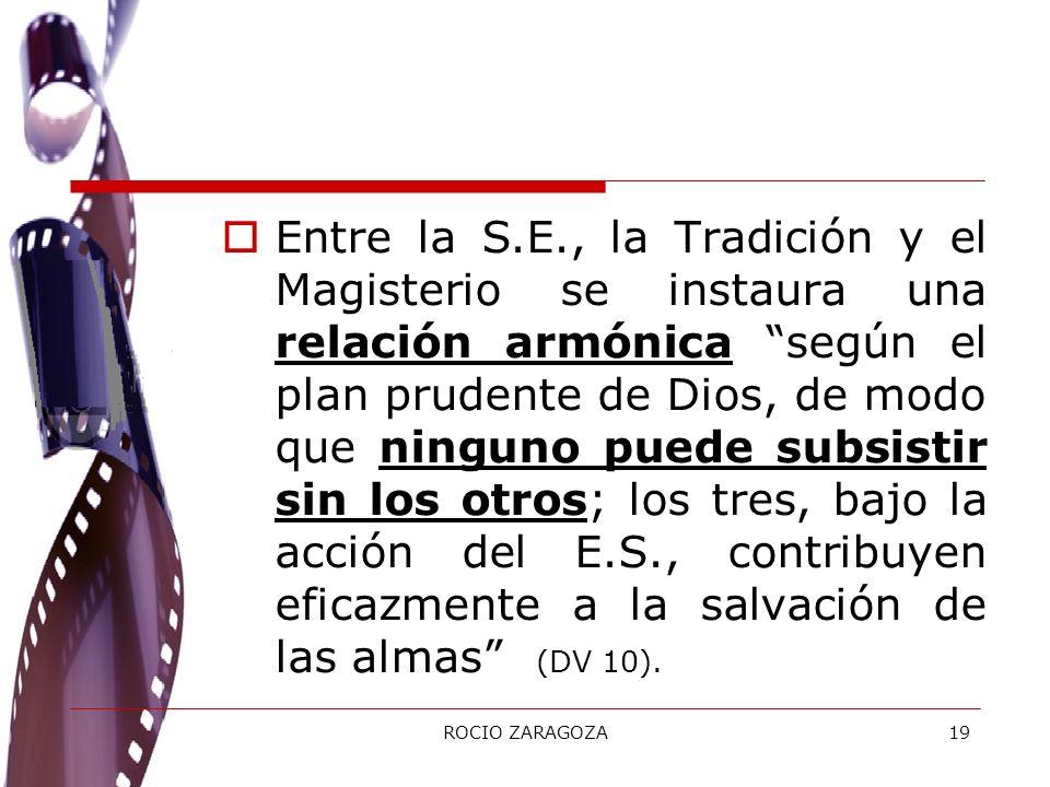 Entre la S.E., la Tradición y el Magisterio se instaura una relación armónica según el plan prudente de Dios, de modo que ninguno puede subsistir sin los otros; los tres, bajo la acción del E.S., contribuyen eficazmente a la salvación de las almas (DV 10).