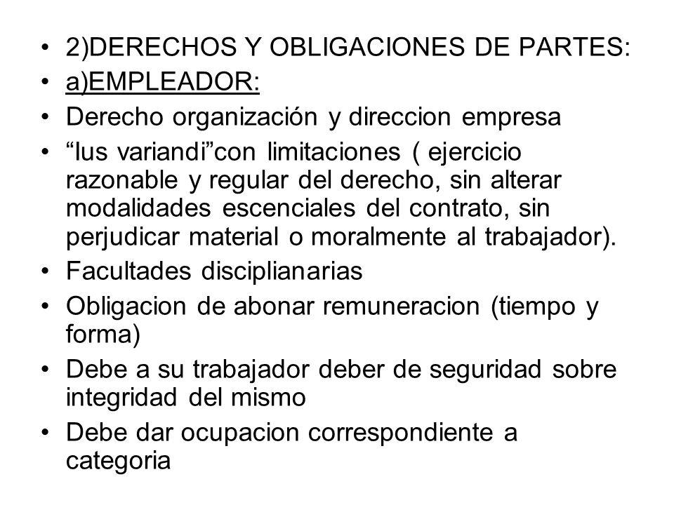 2)DERECHOS Y OBLIGACIONES DE PARTES: