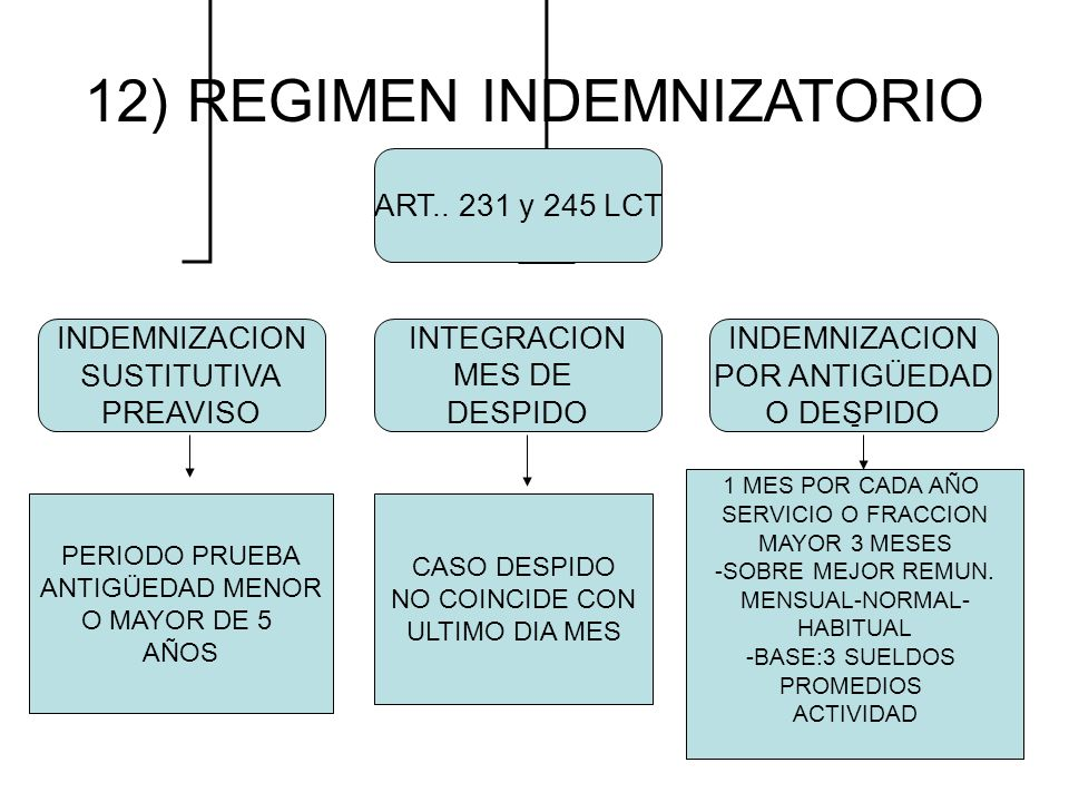 12) REGIMEN INDEMNIZATORIO