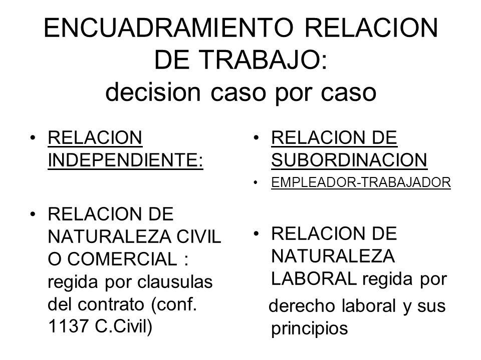 ENCUADRAMIENTO RELACION DE TRABAJO: decision caso por caso