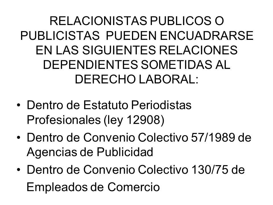 RELACIONISTAS PUBLICOS O PUBLICISTAS PUEDEN ENCUADRARSE EN LAS SIGUIENTES RELACIONES DEPENDIENTES SOMETIDAS AL DERECHO LABORAL: