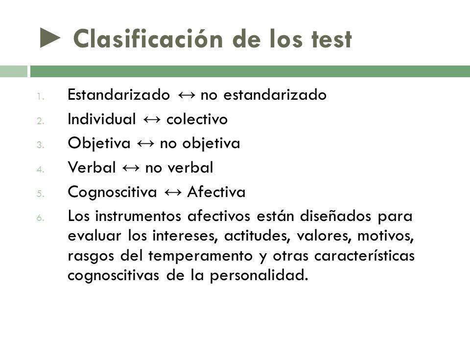 ► Clasificación de los test