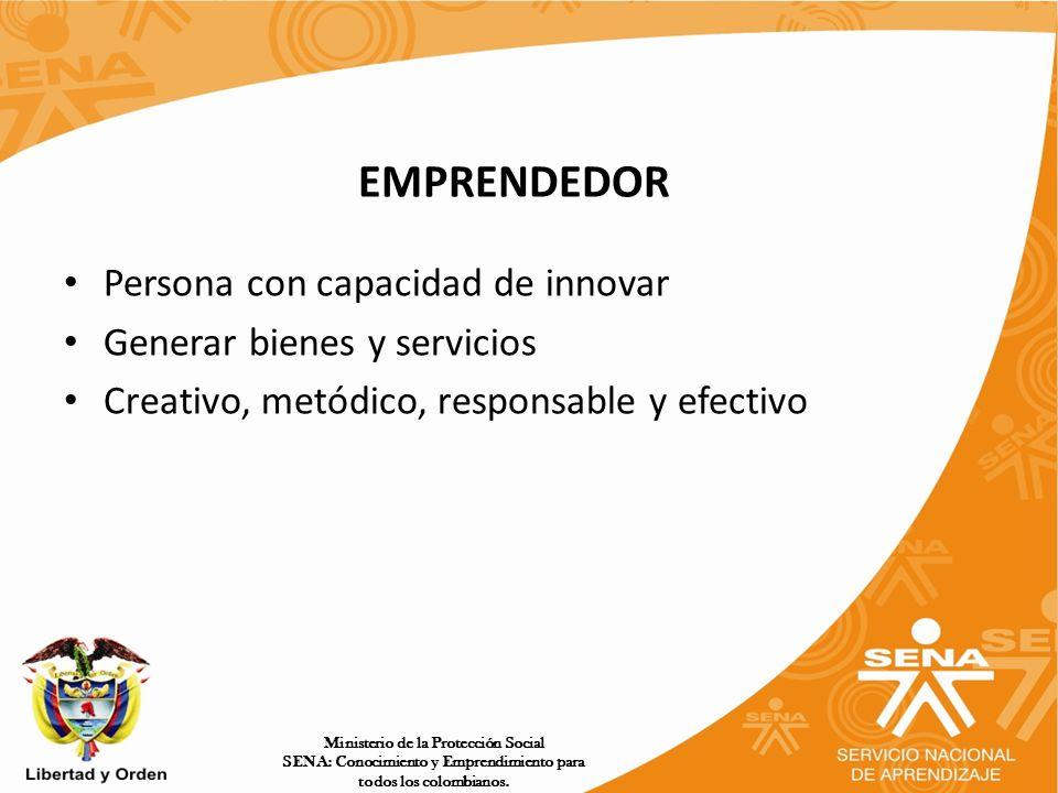 EMPRENDEDOR Persona con capacidad de innovar