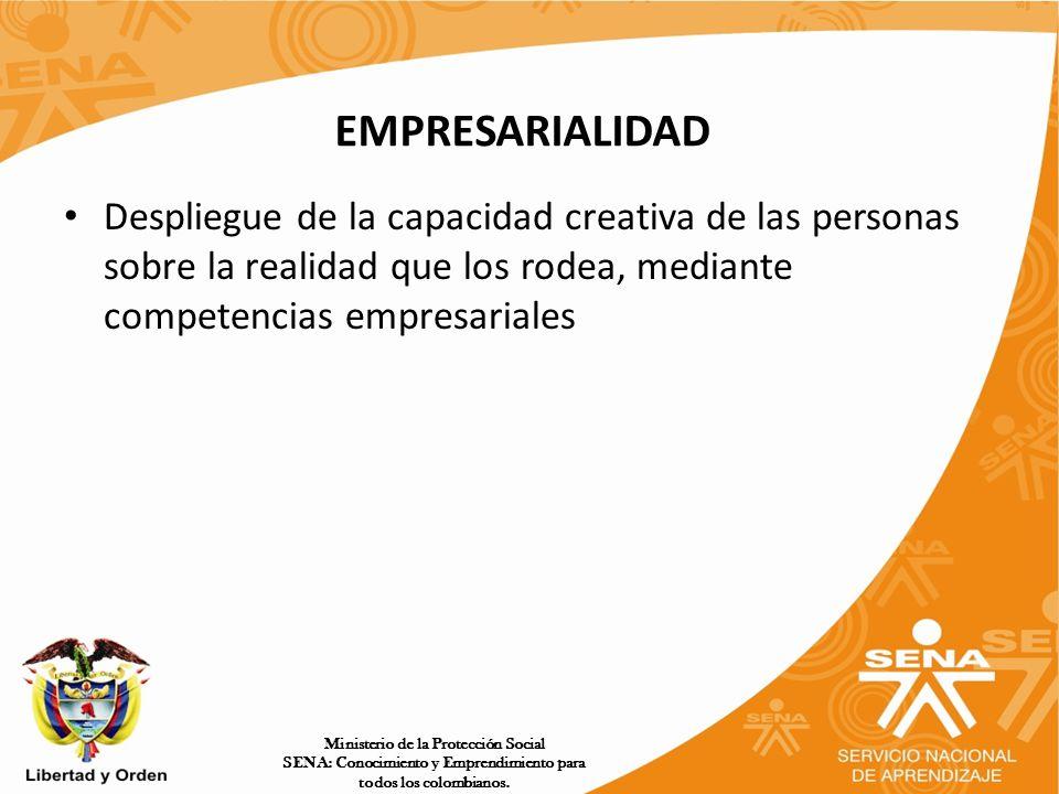 EMPRESARIALIDAD Despliegue de la capacidad creativa de las personas sobre la realidad que los rodea, mediante competencias empresariales.